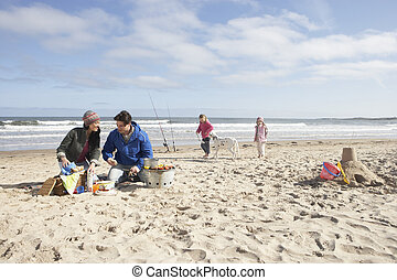 barbeque, plage, hiver, famille, avoir