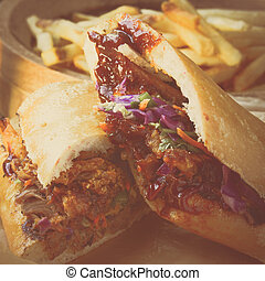 Barbeque Pulled Pork Sandwich with BBQ Sauce