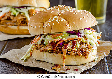 Barbeque Pulled Pork Sandwiches - Two pulled pork barbeque ...