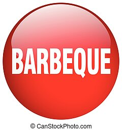 barbeque red round gel isolated push button