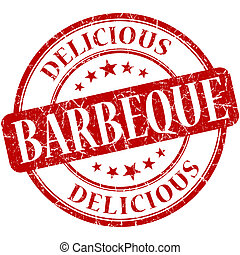 Barbeque red round grungy vintage rubber stamp