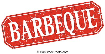 barbeque red square vintage grunge isolated sign