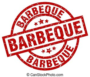 barbeque round red grunge stamp