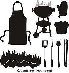 Barbeque silhouettes - A set of barbeque silhouette icons ...