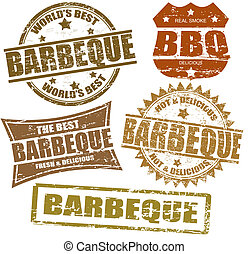 Set of grunge rubber stamps with the word barbeque written inside, vector illustration