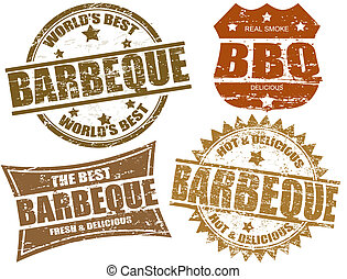 Barbeque stamps - Set of grunge rubber stamps with the word ...