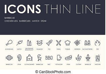 BARBEQUE Thin Line Icons