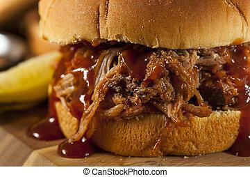 barbeque, tirato, carne di maiale, panino