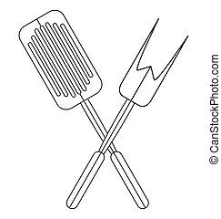 Barbeque tools on white background.