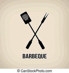 Barbeque tools poster - Barbeque tools in vintage style...