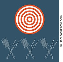Barbeque tools . Target business concept.