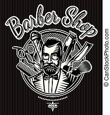 barbeque vector monochrome badge with barber and accessories for the barbershop