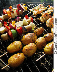 Barbeque - Vegetarian barbeque, with rosemary potatoe sticks...