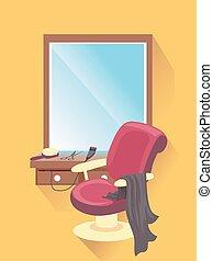 barbería, asiento, plano