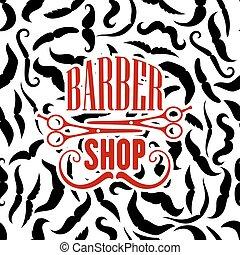 barbería, moustaches, símbolo, tijeras