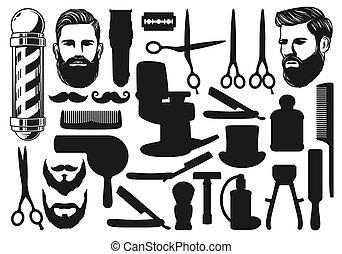 barbería, orla, viruta, corte, silhouettes.