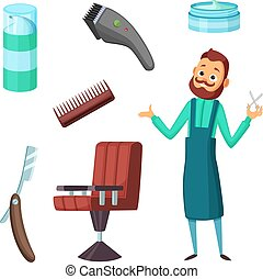 Barber at work and different illustrations of barbershop tools. Vector collection in cartoon style