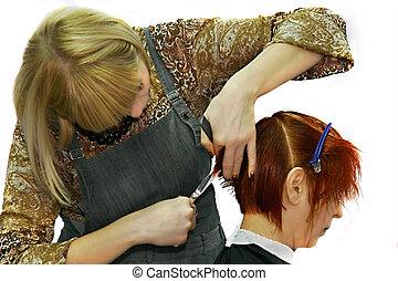 barber at work - barber making a hair dress