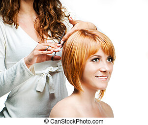 Barber At Work, Isolated - Young woman barber makes...
