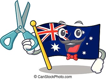 Barber australian flag clings to cartoon wall