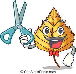 Barber birch leaf in the mascot shape vector illustration