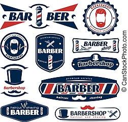 Barber Blue Red Labels