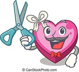 Barber box heart in shape of mascot