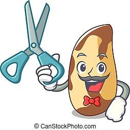 Barber brazil nut character cartoon