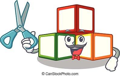 Barber bright toy block bricks on cartoon