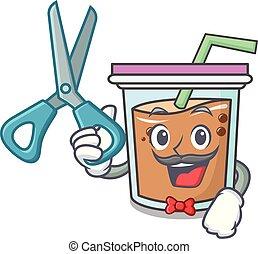Barber bubble tea character cartoon
