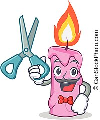 Barber candle character cartoon style vector illustration