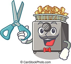 Barber cartoon deep fryer in the kitchen vector illustration