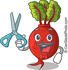 Barber cartoon fresh harvested beetroots in wooden crate