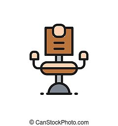 Barber chair, hairdresser flat color line icon.