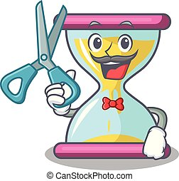 Barber character hourglass concept for business deadline