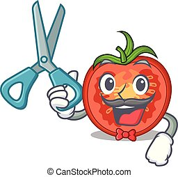 Barber character tomato slices for food decor