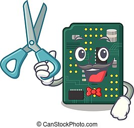 Barber circuit board pcb isolated with mascot vector...