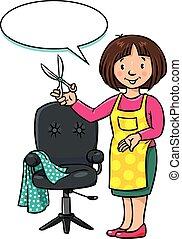 barber., coiffeur, ou, abc, profession, rigolote, série