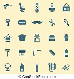 Barber color icons on yellow background