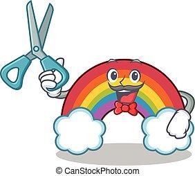 Barber colorful rainbow character cartoon