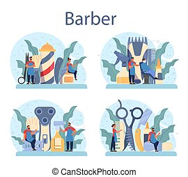 Barber concept set. Idea of hair and beard care. Scissors and brush,