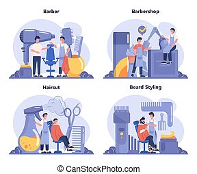 Barber concept set. Idea of hair and beard care. Scissors and brush