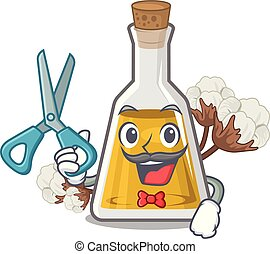 Barber cottonseed oil in a mascot bottle vector illustration