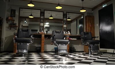Barber customer meeting and discussing haircut. - Barber...