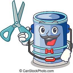Barber cylinder bucket Cartoon of for liquid
