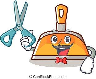 Barber dustpan character cartoon style vector illustration