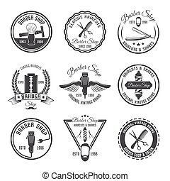 Barber Emblem Or Label Set