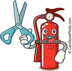 Barber fire extinguisher character cartoon
