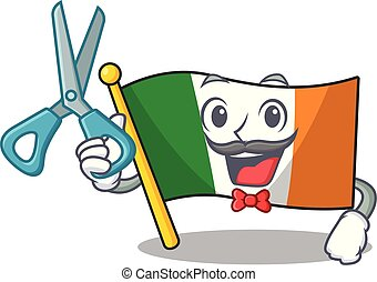 Barber flag ireland isolated with the cartoon vector ...