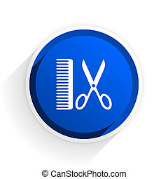 barber flat icon with shadow on white background, blue modern design web element